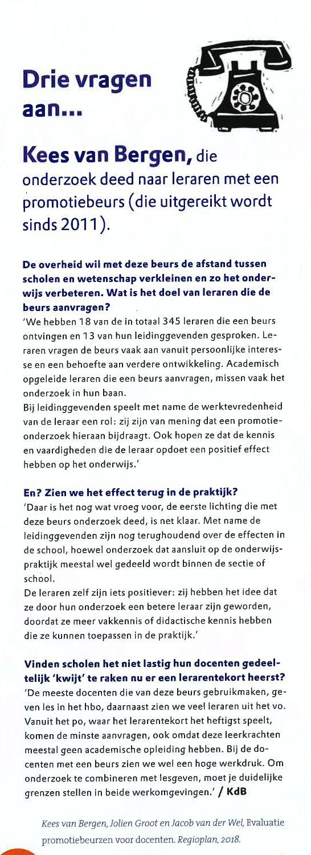 Drie vragen aan Kees van Bergen over promotiebeurzen in tijdschrift Didactief